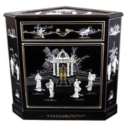 Oriental Furniture Asian Mother of Pearl 2 Drawer Corner Cabinet