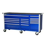 International 77'' Wide 15 Drawer Bottom Cabinet; Blue