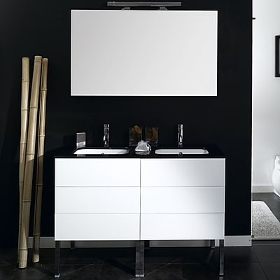 Iotti by Nameeks Time 47'' Double Wall Mounted Bathroom Vanity Set with Mirror; Glossy White