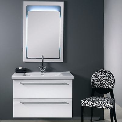 Iotti by Nameeks Fly 37'' Single Wall Mounted Bathroom Vanity Set with Mirror; Glossy White