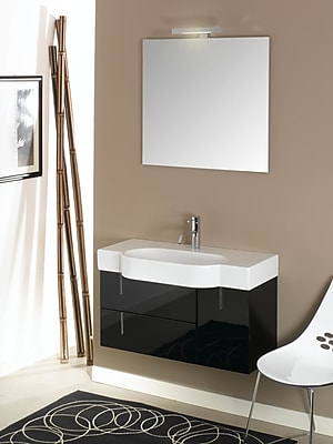 Iotti by Nameeks Enjoy 35'' Single Wall Mounted Bathroom Vanity Set with Mirror; Glossy White