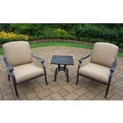 Oakland Living Hampton 3 Piece Deep Seating Chat Set w/ Cushions; Sunbrella Canvas Teak