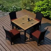 Harmonia Living Arbor 5 Piece Dining Set with  Cushion; Canvas Henna