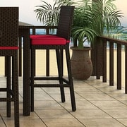 Forever Patio Barbados 29'' Bar Stool with Cushion; Flagship Ruby / Canvas Bay Brown Welt