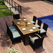 Harmonia Living Arbor 7 Piece Dining Set with Cushion; Canvas Spa