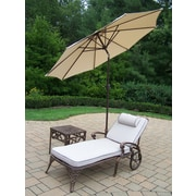 Oakland Living Elite 3 Piece Chaise Lounge Set with Cushions; Beige