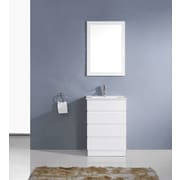 Virtu Bruno 24'' Single Contemporary Bathroom Vanity Set with Mirror; White