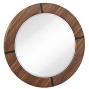 Majestic Mirror Round Modern Walnut Beveled Glass Framed Hanging Accent Wall Mirror