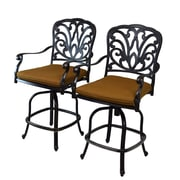 Oakland Living Hampton Bar Stool w/ Cushion (Set of 2); Sunbrella - Tan