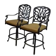 Oakland Living Hampton Bar Stool w/ Cushion (Set of 2); Standard - Tan