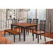 East West Nicoli 6 Piece Dining Set; Black / Cherry