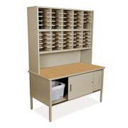 Marvel Office Furniture Mailroom 50 Adjustable Slot Literature Organizer with Riser and Cabinet