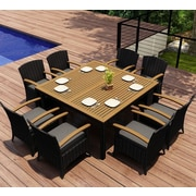 Harmonia Living Arbor 9 Piece Dining Set w/  Cushions; Canvas Charcoal