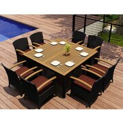 Harmonia Living Arbor 9 Piece Dining Set w/  Cushions; Canvas Henna