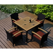 Harmonia Living Arbor 5 Piece Dining Set w/ Cushion; Canvas Henna