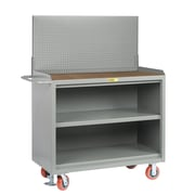 Little Giant USA 65'' x 53.5'' x 24'' Mobile Service Bench with Center Shelf and Pegboard Panel