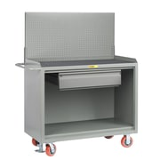 Little Giant USA 65'' x 53.5'' x 24'' Mobile Service Bench with Heavy-Duty Drawer and Pegboard Panel