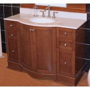 American Imaginations 47'' Traditional Birchwood-Veneer Vanity Base; Aluminum