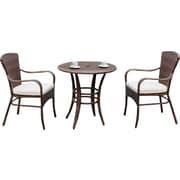 Panama Jack Key Biscayne 3 Piece Bistro Set with Cushion; Linen Silver