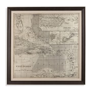Bassett Mirror Map of Caribbean Framed Graphic Art