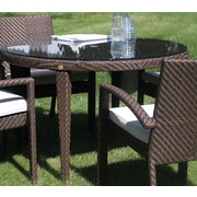 Hospitality Rattan Soho Patio Woven Round Dining Table with Umbrella Hole