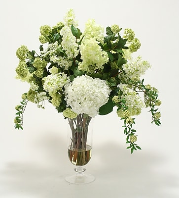 Distinctive Designs Waterlook Silk Floral Arrangement Mix w/ Greenery in Footed Clear Glass Urn WYF078277700300