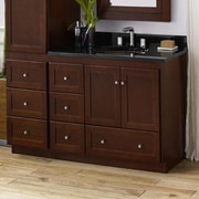 Ronbow Shaker 36'' Bathroom Vanity Cabinet Base in Dark Cherry - Wood Doors on Left
