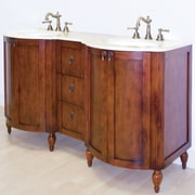 American Imaginations 59'' Traditional Birchwood-Veneer Vanity Base; Chrome