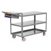 Little Giant USA 24'' x 64'' 3-Shelf Utility Cart with Writing Shelf and Storage Pocket