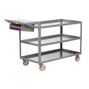 Little Giant USA 24'' x 52'' 3-Shelf Utility Cart w/ Writing Shelf and Storage Pocket