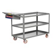 Little Giant USA 24'' x 64'' 3-Shelf Utility Cart w/ Writing Shelf and Storage Pocket