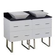 American Imaginations 48'' Double Modern Plywood-Melamine Bathroom Vanity Set; Brushed Nickel