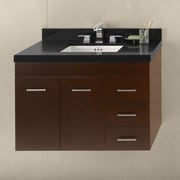 Ronbow Bella 36'' Wall Mount Bathroom Vanity Base Cabinet in Dark Cherry - Doors on Left