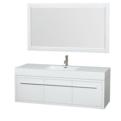 Wyndham Collection Axa 60'' Single Bathroom Vanity Set with Mirror; Glossy White