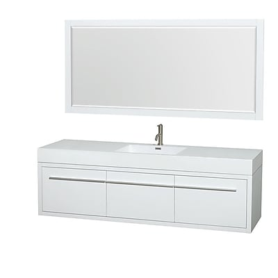 Wyndham Collection Axa 72'' Single Bathroom Vanity Set with Mirror; Glossy White