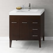 Ronbow Venus 31'' Bathroom Vanity Base Cabinet in Dark Cherry - Doors on Left, Wood Legs
