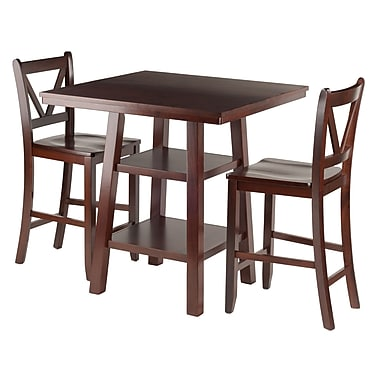 Winsome Orlando 3-Piece Set High Table with 2 V Back Counter Stools, (94351)
