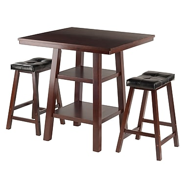 Winsome Orlando 3-Piece Set High Table with 2 Saddle Seat Stools, (94362)