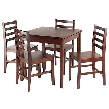 Winsome — Ensemble de table de bistrot extensible Pulman 5-pièces avec chaises à barreaux (94556)