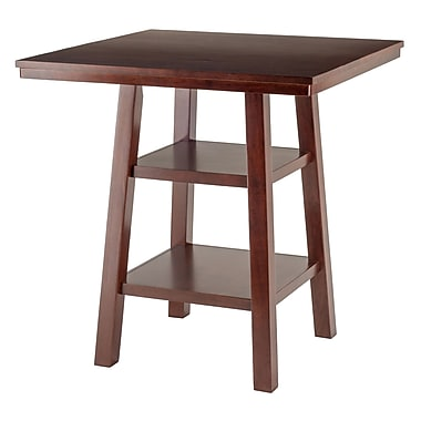 Winsome Orlando High Table, 2-Shelves, Walnut Finish, (94034)