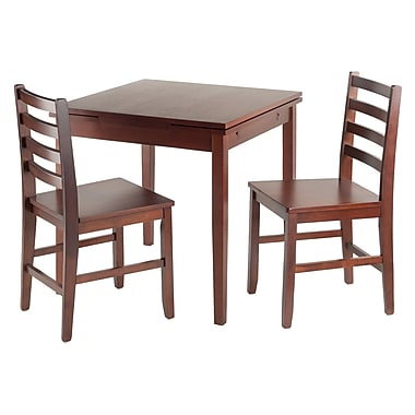 Winsome Pulman Extension Table, 2 Ladder Back Chairs, Walnut, (94367)