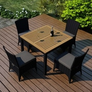 Harmonia Living Arbor 5 Piece Dining Set w/  Cushion; Canvas Charcoal