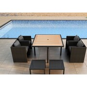 Harmonia Living Arbor 9 Piece Cube Dining Set with Cushion; Canvas Charcoal