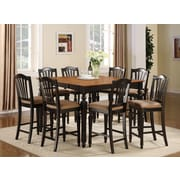 East West Chelsea 9 Piece Counter Height Pub Table Set; Black / Cherry