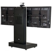 VFI Moble Telepresence Stand w/ Dual Monitor Mount for 32'' -70'' Displays; Fusion Maple