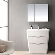 Fresca Milano 31.5'' Single Sink Modern Bathroom Vanity Set; Glossy White