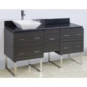 American Imaginations 60'' Single Modern Bathroom Vanity Set; Brushed Nickel