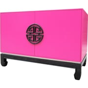Asian Loft Cabinet End Table; Vibrant Pink