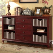 Coast to Coast Imports Carolina Preserves 4 Drawer Credenza; Buxton Texture Red and Ivory
