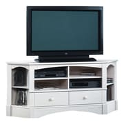 Sauder Harbor View TV Stand; Antiqued White